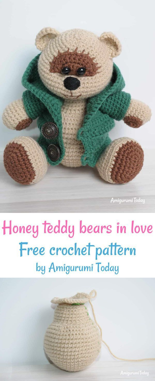 Honey teddy bears in love: crochet pattern | Crochet teddy bear ... | 1471x600