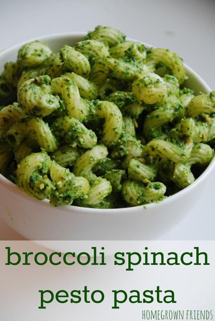 Broccoli Spinach Pesto Pasta Delicious and so easy to make! My 3 year old had FOUR helpings! (Homegrown Friends)