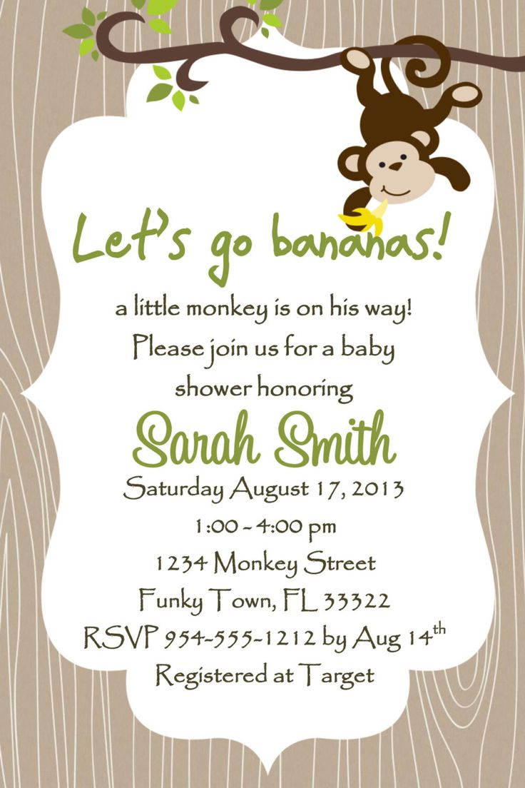 Monkey Baby Shower Invitation Template 4x6  Boy by LuckyBean33, $13.00