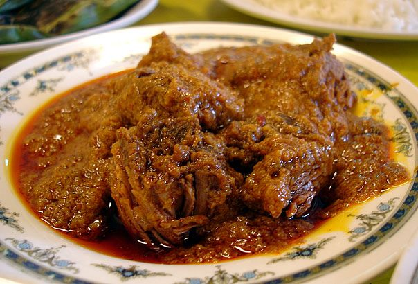 Rendang is a spicy meat dish which originated from the Minangkabau ethnic group of Indonesia,and is now commonly served across the country. One of the characteristic foods of Minangkabau culture, it is served at ceremonial occasions and to honour guests. Also popular in Malaysia, Singapore, Brunei, the southern Philippines and southern Thailand