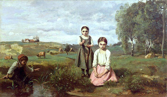 """Camille Corot: Enfants au bord d'un ruisseau à Lormes"""", 1840/43, oil on canvas,  Private Collection in Japan."""