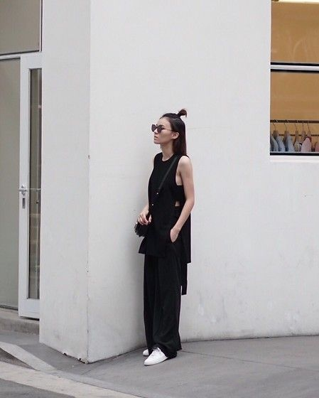 Get this look: http://lb.nu/look/8763801  More looks by Kay Lai: http://lb.nu/hello_kaylai  Items in this look:  Gentle Monster Sun Glasses, Hemsmith Top, Cos Trousers, Vince Sneakers   #casual #chic #minimal #allblack