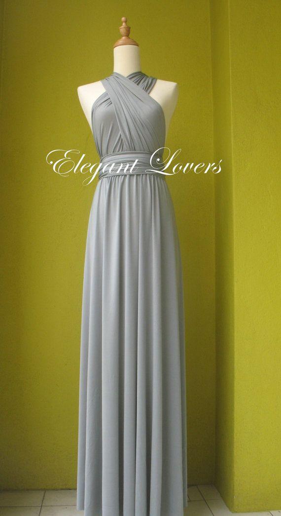 Grey Bridesmaid Dress Ball Gown Floor Length Prom Dress Convertible Dress…