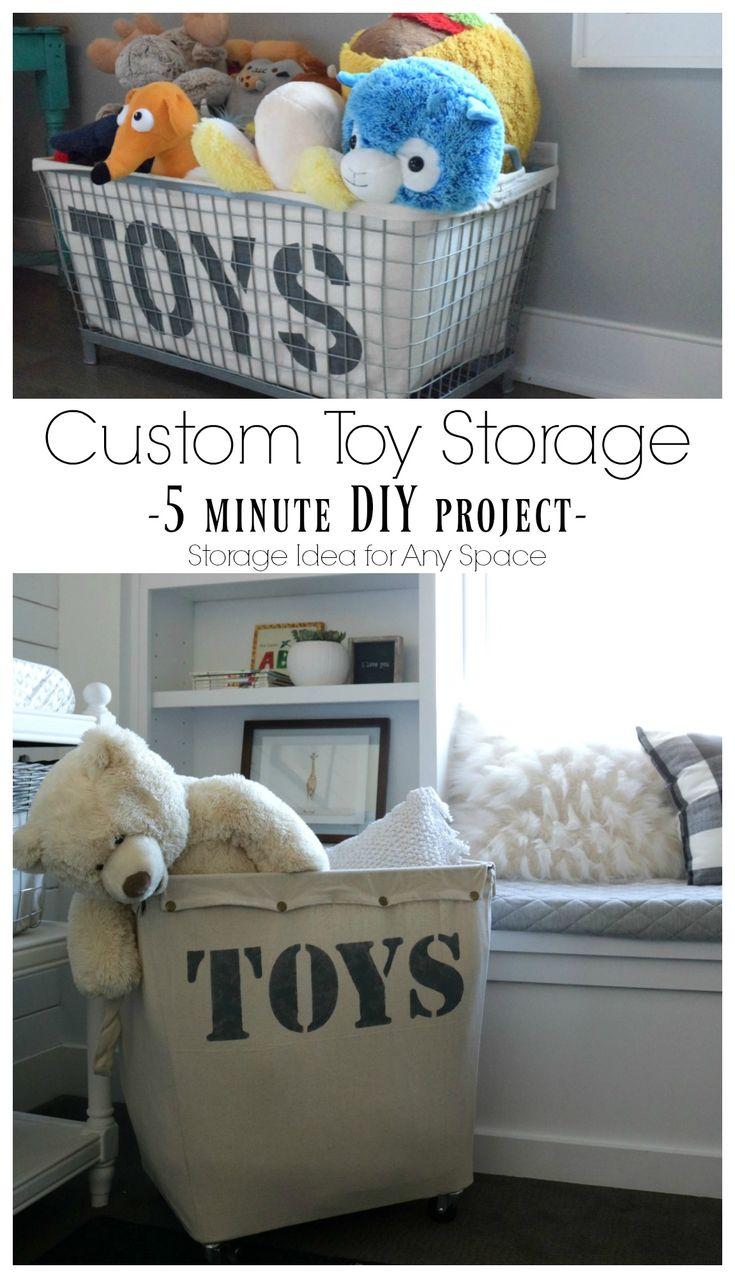 Custom Toy Storage Solution- 5 Minute Project. DIY Toy Storage- Hamper Knock- Off #toyorganization #playroom #babyboynursery #nursery #organizing