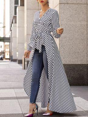 V-Neck Striped Tie Waist Dip Hem Irregular Blouse