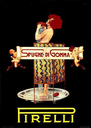 Vintage Italian Posters ~ #illustrator  #Italian #vintage #posters ~ Elio, ad for Pirelli sponges   #TuscanyAgriturismoGiratola