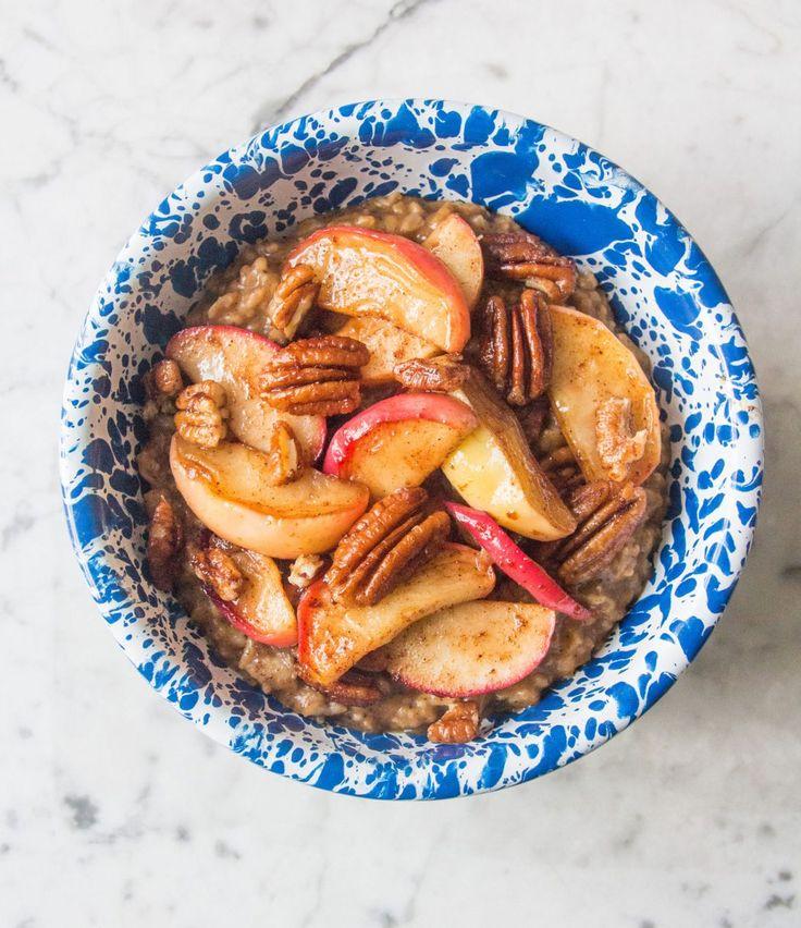 Spiced Pumpkin Porridge, with Caramelised Apples & Pecans   Deliciously Ella