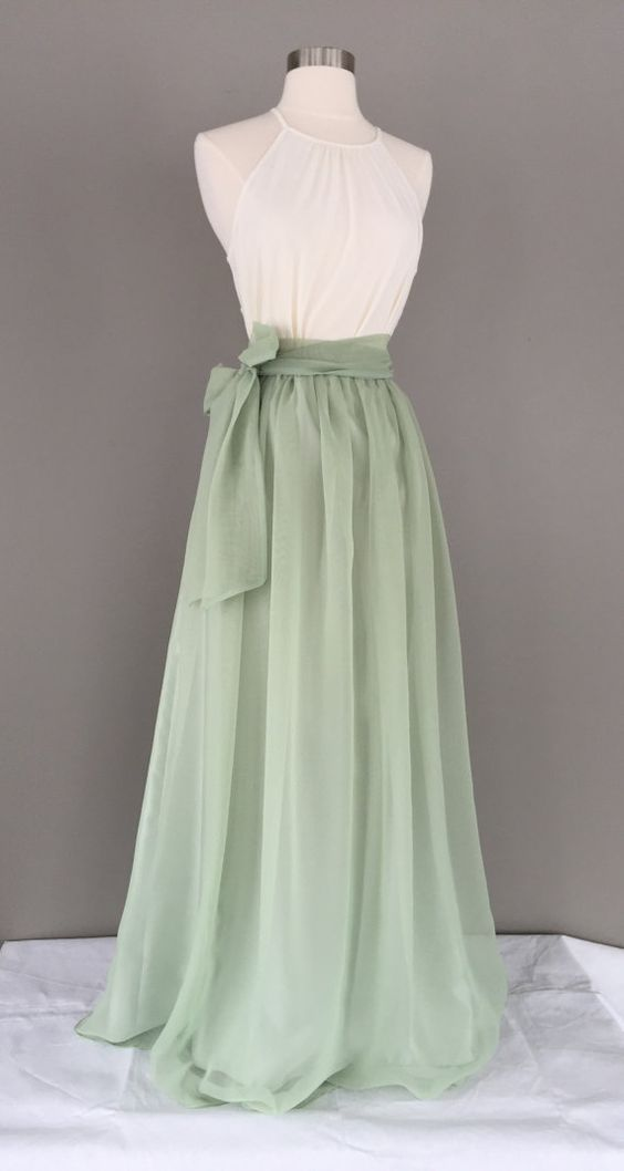 Sage green chiffon skirt, Bridesmaid skirt, floor length, tea length, knee length empire waist green chiffon maxi, SASH is additional charge 1