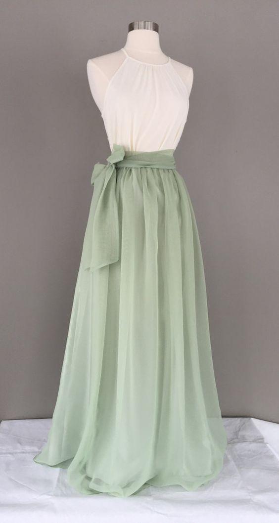 Sage green chiffon skirt, Bridesmaid skirt, floor length, tea length, knee length empire waist green chiffon maxi, SASH is additional charge 1