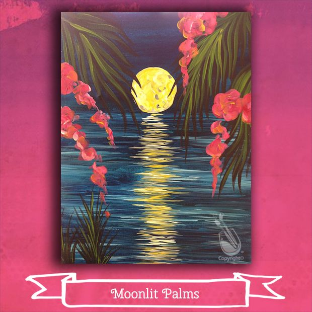 """Sat evening, March 11 we are getting a little tropical and a little romantic with """"Moonlit Palms"""". Hope you can join us! Join us at Painting with a Twist – Indy! ©Painting with a Twist."""