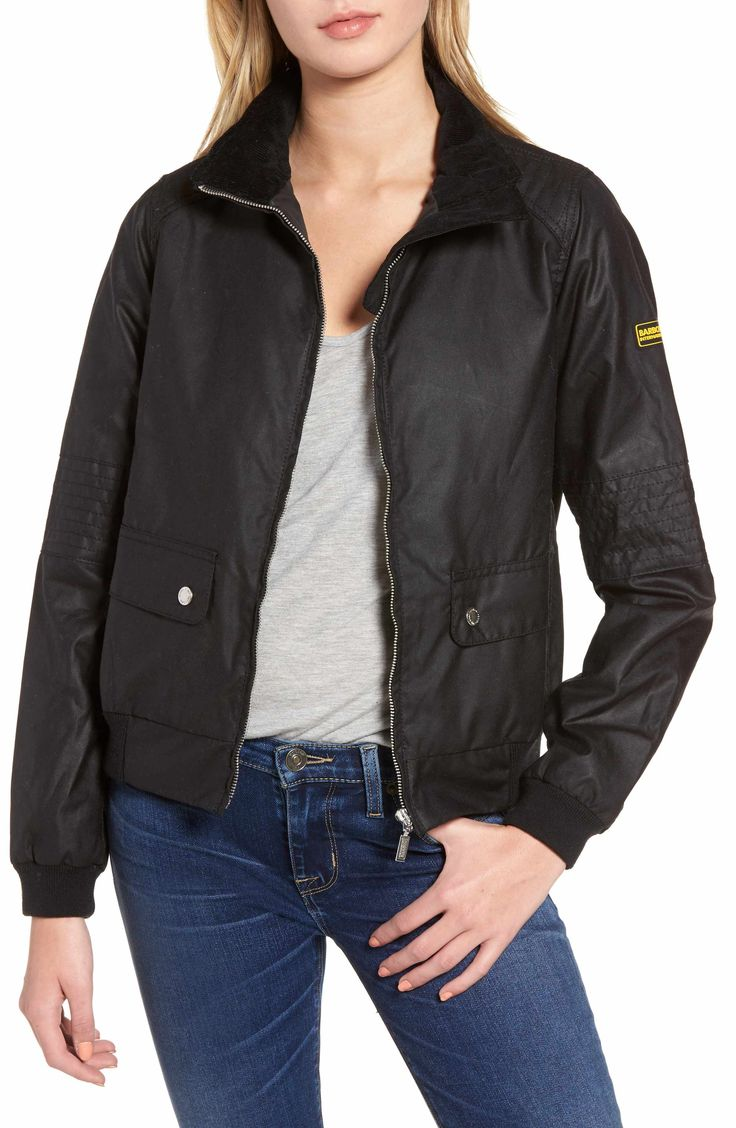 Main Image - Barbour Tain Waxed Bomber Jacket