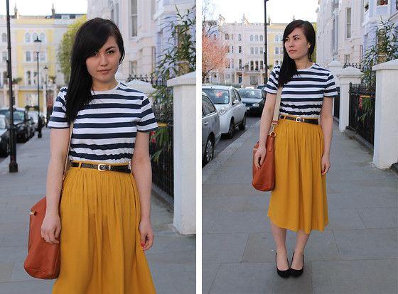 Topman Navy Striped Tee, River Island Mustard Midi Skirt, Prada ...