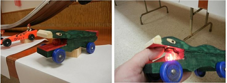 Light up Pinewood Derby Car.  #cubcontest  Uses two pinewood derby blocks.