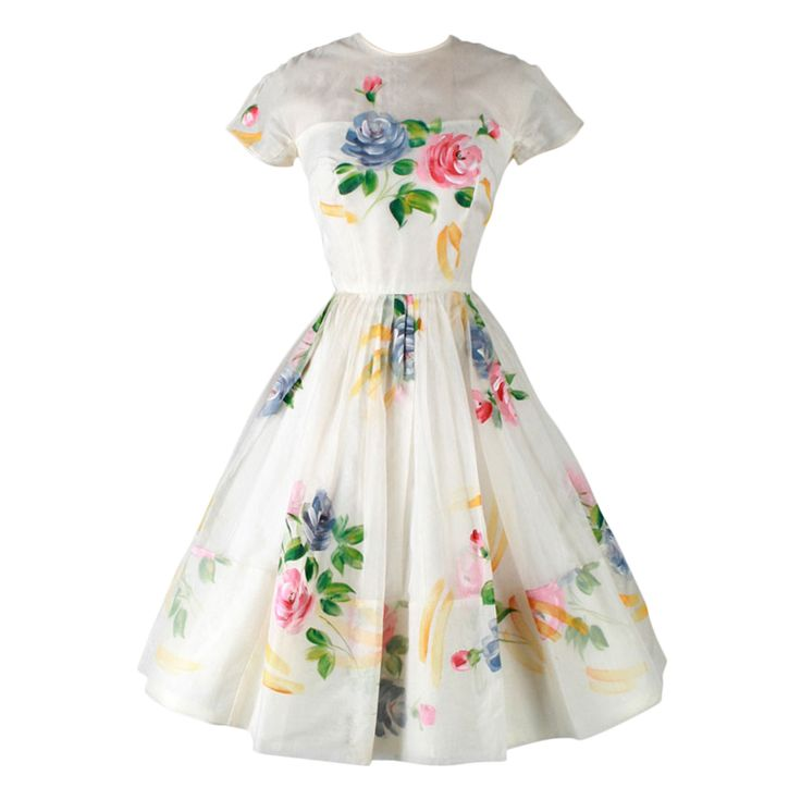 1stdibs | Vintage 1950's Ivory Organza Hand Painted Flowers Dress