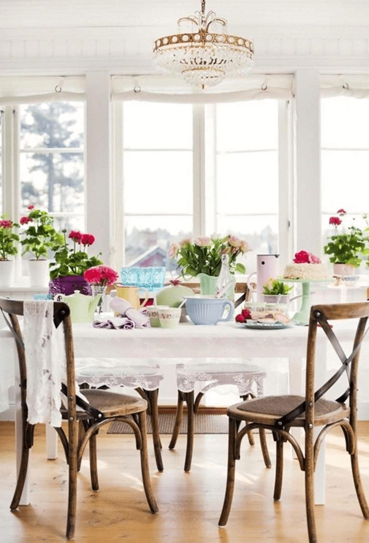 Country style vintage dining table decor for spring colorful