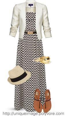 I'm not a big fan if the boho hat, but I love the black and white maxi dress with the white blazer!