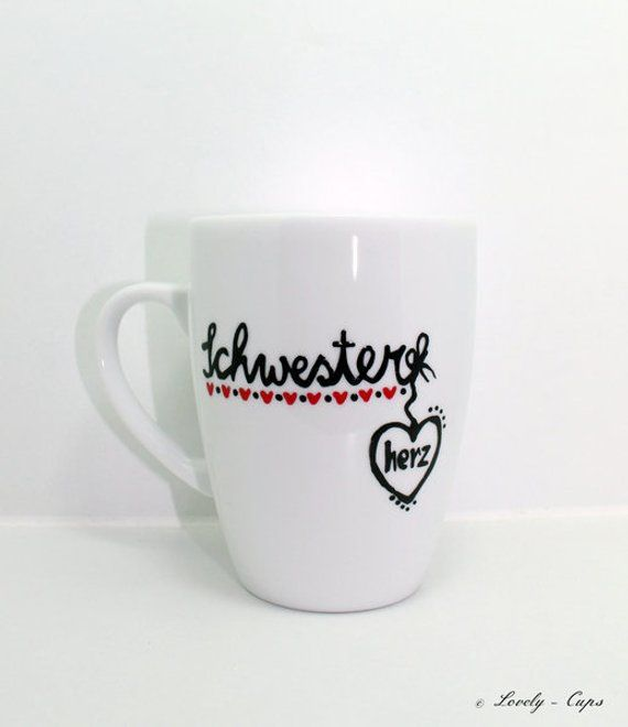 Mug gift for the sister, hand painted sister Heart Cup