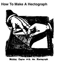 http://chestofbooks.com/crafts/popular-mechanics/The-Boy-Mechanic-700-Things-for-Boys-to-Do/How-To-Make-A-Hectograph.html Soak 1 oz. of gelatine in cold water over night and in the morning pour off the water. Heat 6-1/2 oz. of glycerine to about 200 deg. F. on a water bath, and add the gelatine. This should give a clear glycerine solution of gelatine.