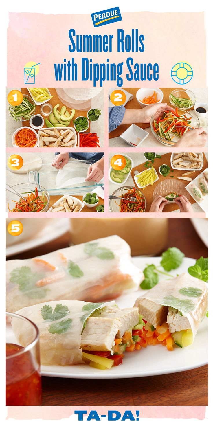 Perfect summer appetizer alert! Try our PERDUE® Summer Rolls with Dipping Sauce recipe at perdue.com.