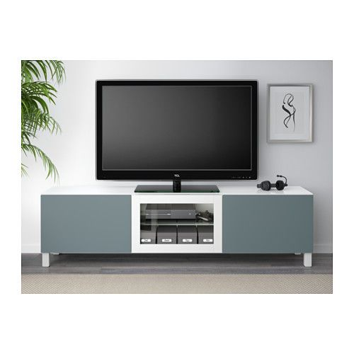BESTÅ TV bench with doors - white/Valviken gray-turquoise clear glass, drawer runner, soft-closing - IKEA