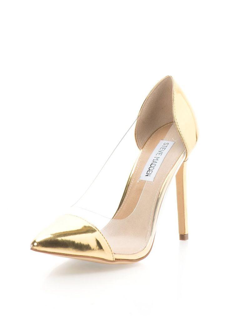 Pantofi stiletto aurii cu insertii transparente