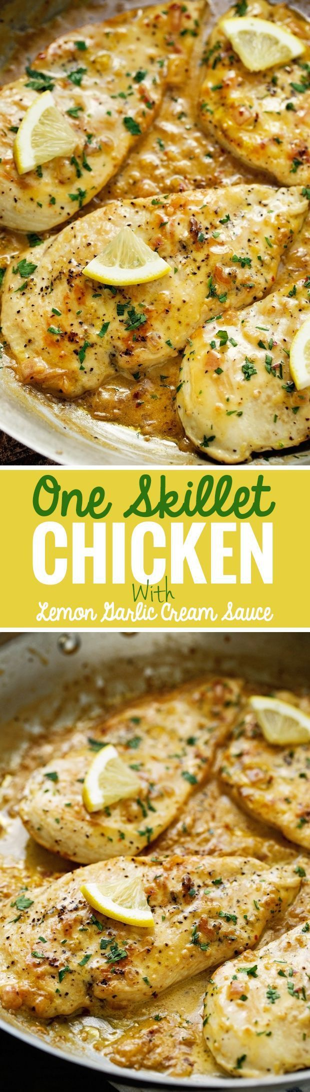 One Skillet Chicken topped with A Lemon garlic Cream Sauce - Ready in 30 minutes are perfect over a bed of angel hair pasta!