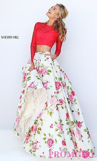 Floral Print Open Back Two Piece Sherri Hill Dress at PromGirl.com