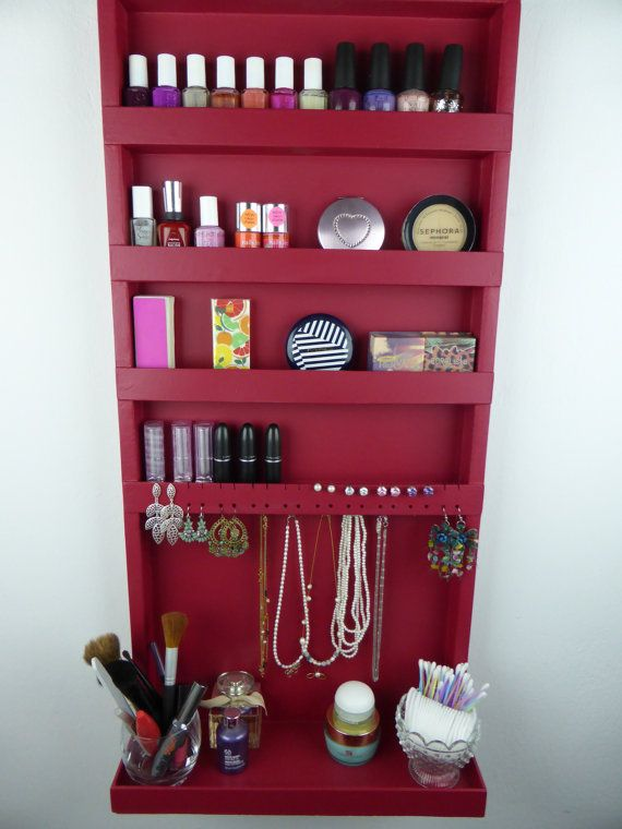 Great idea and a nice colour too ~ Red wine makeup and jewelry organizer by CraftersCalendar, $98.00