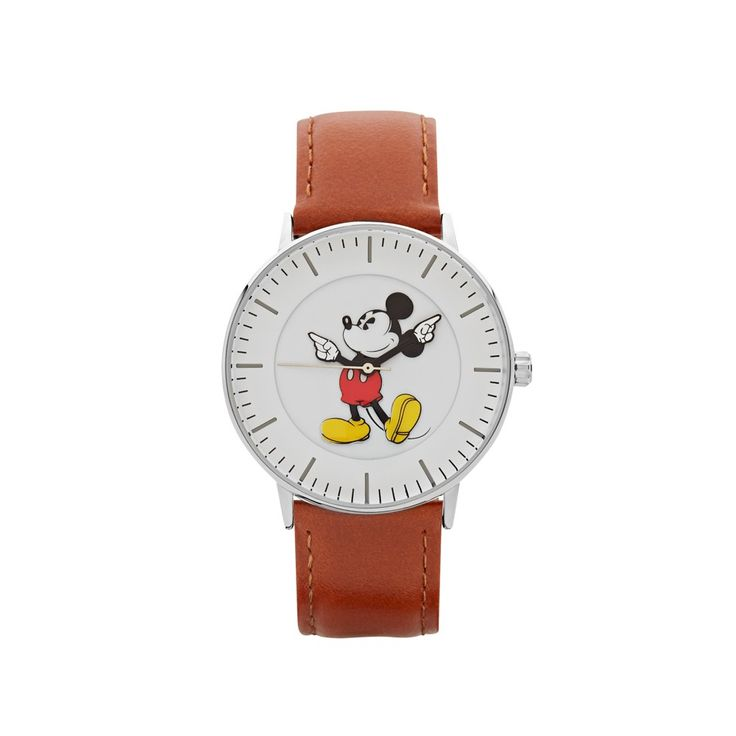The Original Mickey Collection Watch - Silver + Tan 40mm