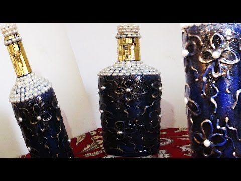 Garrafa decorada com textura e vitrificação (Passo a Passo) - YouTube
