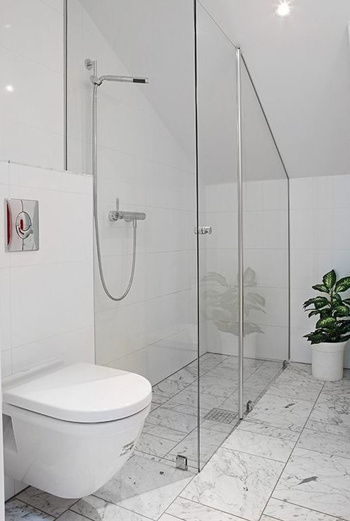 Floor to ceiling toughened glass. Like this for balustrade rather than shower. But also cool for shower :D