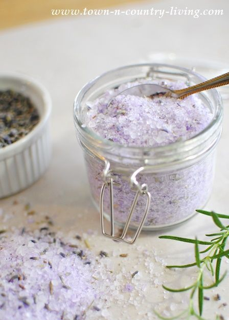 How to Make Lavender Rosemary Bath Salts; it provides a variety of benefits, including aid in sleeping, relief from dry skin, reduced muscle soreness, and more.
