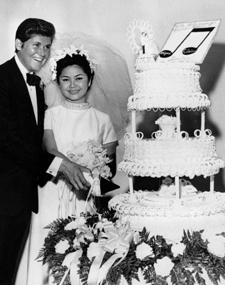 Singer/Entertainer Wayne Newton with first wife Elaine Sukamura (Marie LaPlant informs us Elaine's last name was Okamura) in 1968.  They adopted a daughter in 1977 before divorcing in 1985.  In 1994 he married lawyer Kathleen McCrone.