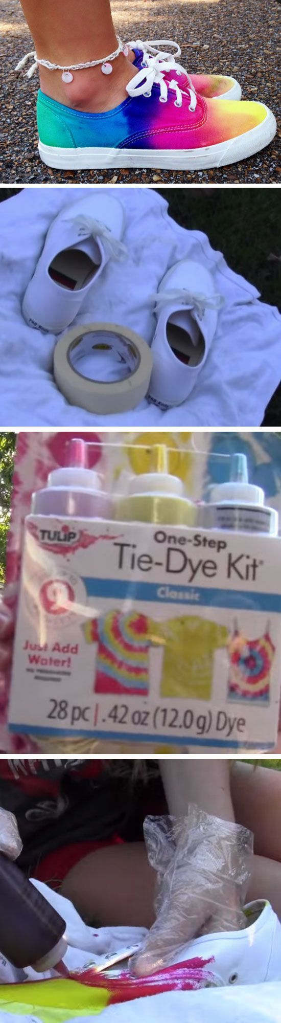 Multicolored Shoes   15 Easy DIY Tie Dye Projects Ideas that will bring out your inner hippie!
