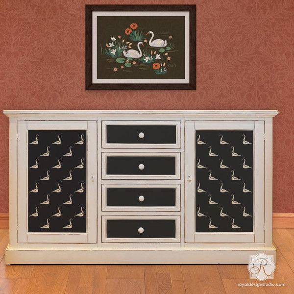 DIY Furniture Makeover - Stenciling Dresser Drawers for Kids Room with Bird Stencils - Royal Design Studio