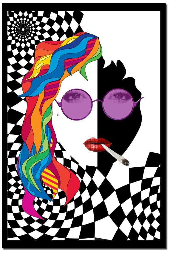 Psychedelic hippie girl  20 x 30  poster by DogPlayCrafts on Etsy