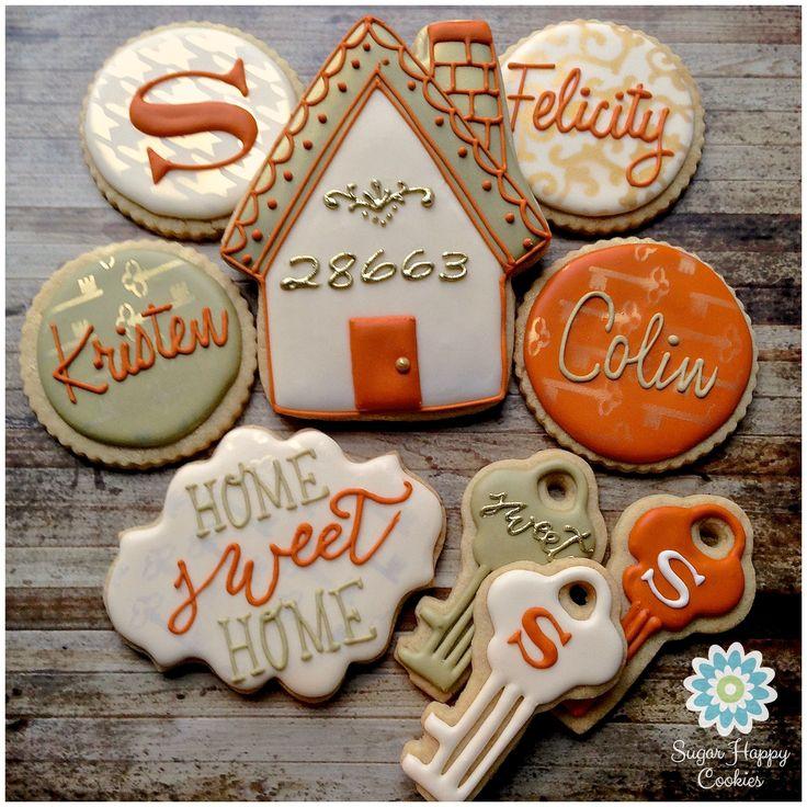 Home Sweet Home sugar cookie set, autumn palette skeleton keys, personalized set, monogram