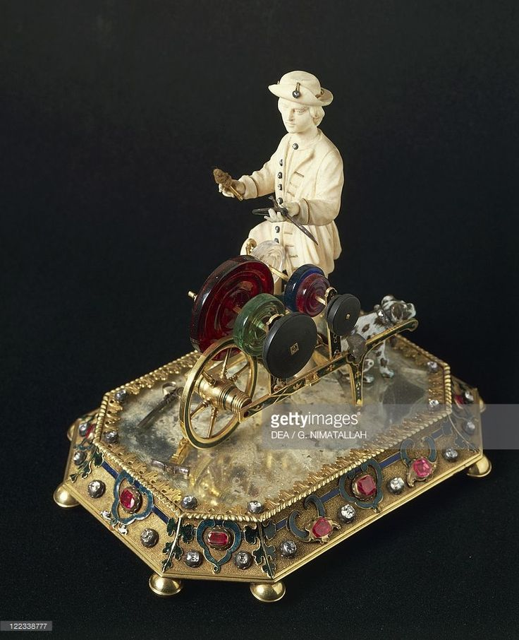 Goldsmith's art, Italy, 18th century. Figurine of knife-grinder in gold, ivory, diamonds and precious stones.