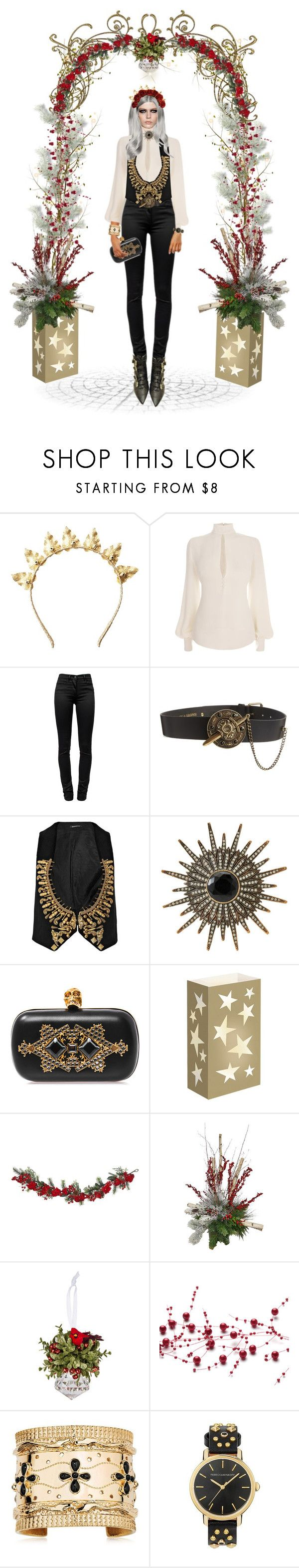 """""""I Don't Do """"Festive""""."""" by beneath-the-mystic-moon ❤ liked on Polyvore featuring Rock 'N Rose, Alexander McQueen, T By Alexander Wang, Black & Brown London, Balmain, Heidi Daus, LumaBase, Nearly Natural, Frontgate and Sullivans"""