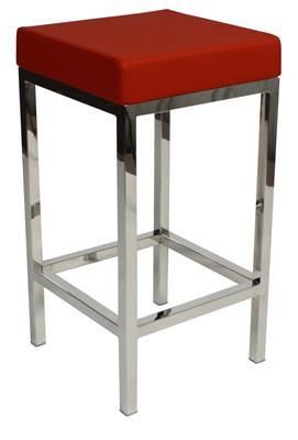 """""""Albany"""" Stainless Steel Frame Backless Padded Bar Stool in Red - AU$119 – Simply Bar Stools - https://www.simplybarstools.com.au/products/albany-stainless-steel-frame-backless-padded-bar-stool-in-red - steel, backless, fixed leg, bar stools. #Australia #Furniture"""