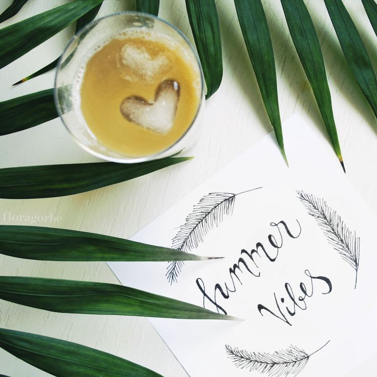 Iced coffee with palm trees   #icedcoffee #summer #typography #callygraphy #palmtree