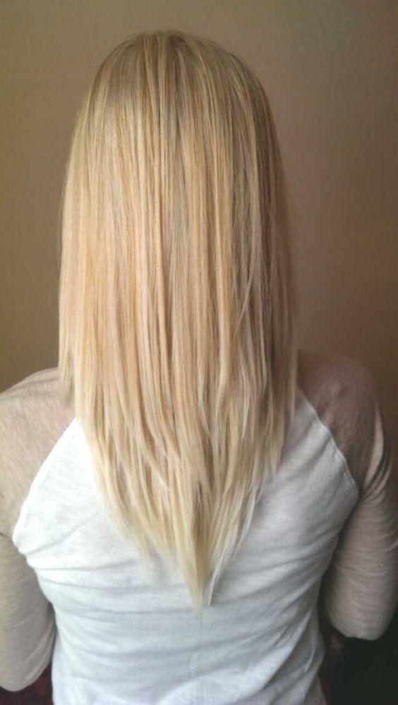 V Cut Hairstyle for Medium Length Hair - Blonde Balayage Hairstyles 2017