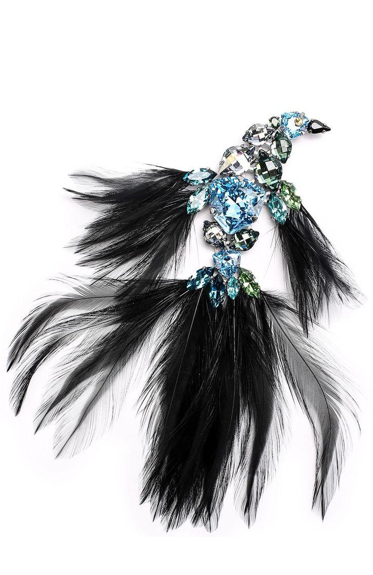 Женская голубая брошь в виде птицы с отделкой из кристаллов и перьев Lanvin, сезон FW 17/18, арт. AW-CJHP3H-0PLU-A17 купить в ЦУМ | Фото №1