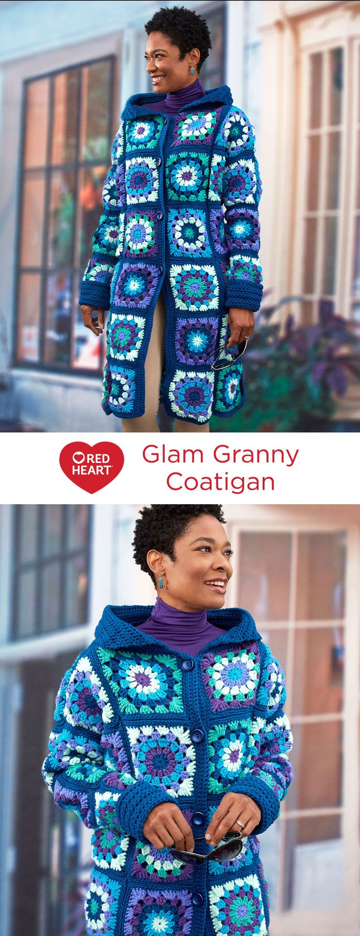 Glam Granny Coatigan Free Crochet Pattern in Red Heart Yarns -- Choosing regal shades of blue, purple and jade turns the crochet granny square into a fashion statement. We used six shades of With Love, for a sweater coat that is fun and comfy to wear. Pattern is given to fit small to 3X sizes.