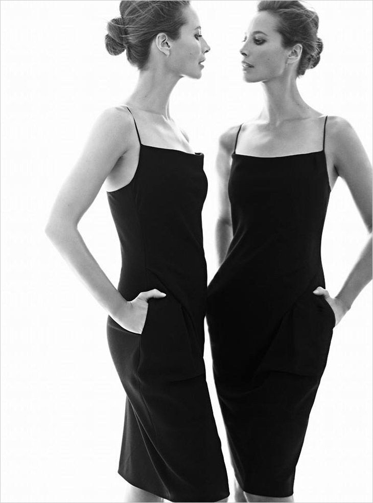 Christy Turlington in Chic Black Dress for Harper's Bazaar UK January 2014 | Black and White #Fashion  #Editorial