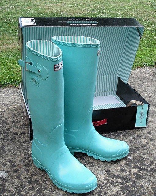 Tiffany blue hunters. I need these! wanna-wear-it                                                                                                                                                      More