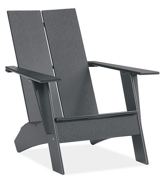 Emmet from Room and Board  Material: recycled p.e.  Color: grey  Material Detail: recycled high density polyethylene  Dimensions: 29w 35d 33h  Inside Seating: 20w 18d  Seat Height: 12h  Arm Height: 20h  Features: bottle opener  Special Considerations: item will ship unassembled via UPS  Product Origin: made in Minnesota  Item number: 950211  $399