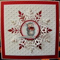 Card with Memory Box snowflake and Cheery Lynn Scandinavian Hearts die