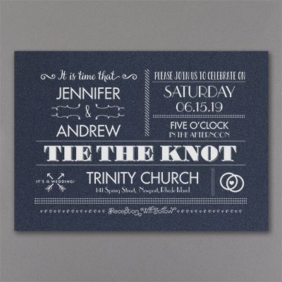 It's time to tie the knot, and the vintage typography design on this navy shimmer wedding invitation says it with style! Choose the ink or foil color.