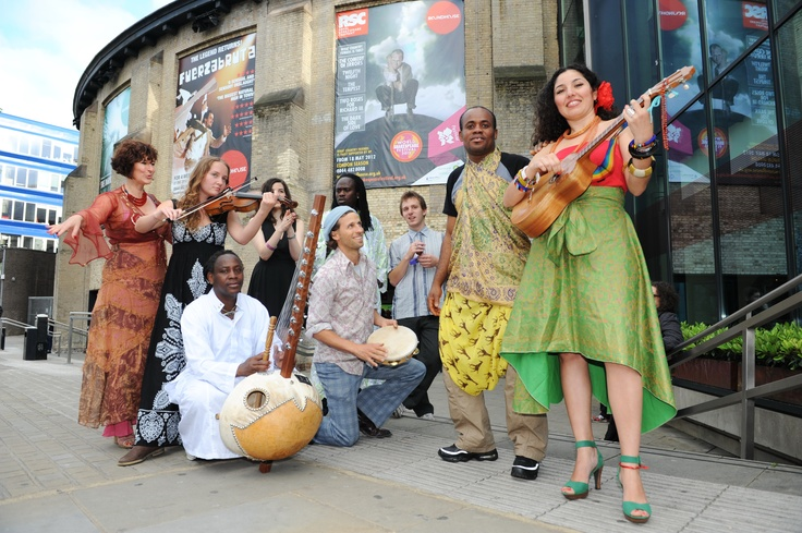 A group of musicians participating in Sahara Nights outside the Roundhouse before the performance started, by See Li
